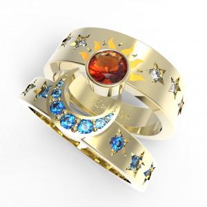 Nap és a Hold egyedi tervezésű arany karikagyűrű. Rendelhető