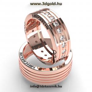 Forma1 Michelin gumiabroncs mintázatú arany karikagyűrű pár